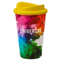 Reusable coffee cup with large full colour branding area and yellow lid