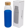 Clear drinking bottle with wooden screw lid and silicone sleeve in blue