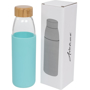 540ml Glass water bottle with cyan printable silicone sleeve and wooden screw lid top