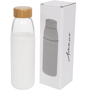 Clear glass drinks bottle with white silicone sleeve and wooden screw lid