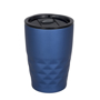 Metallic blue 350ml reusable coffee tumbler with geometric pattern to the bottom and smooth top for branding