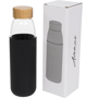 540ml Glass sports drinking bottle with wooden lid and black silicone sleeve