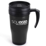Black travel mug printed with company logo, with black handle