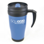 Promotional travel mug with blue body and black handle and lid trim