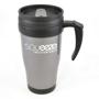 Grey 400ml reusable coffee mug printed with company logo, with black handle