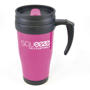 Magenta hot drink mug with black handle, printed with a logo as promotional merchandise