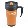 Orange promotional travel coffee mug with handle