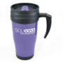 Branded purple travel mug with black handle