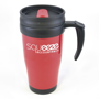 Promotional 400ml travel mug in red with black handle