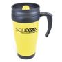 Yellow travel mug with black handle, printed with company logo