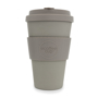 14oz reusable travel mug with grip and lid in solid brown