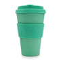 Green 14oz reusable travel cup with silicone grip and lid
