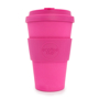 Travel mug in magenta with matching lid and sleeve