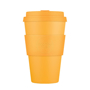 Orange reusable 14oz coffee tumbler with grip and lid