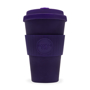 Large 14oz reusable travel cup in purple with coordinating lid and grip
