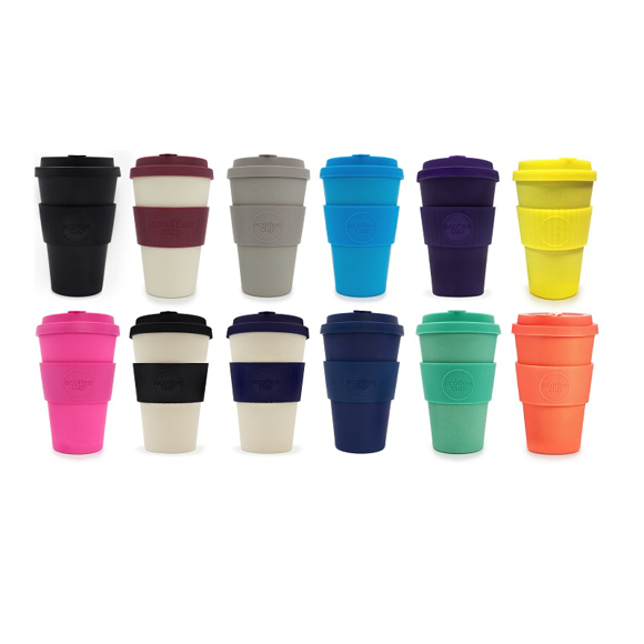 14oz reusable travel mugs in a range of colours