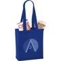 Promotional mini tote bag in blue with long handles and company logo printed to the front