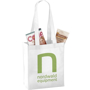 White long handled mini tote bag with logo printed on the front