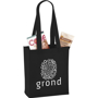 Mini black tote bag personalised with a company logo printed on one side