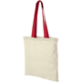 Red handled shopping bag with natural cotton sides for advertising company logos