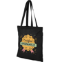 Promotional black long handled shopper bag with company logo printed on the front