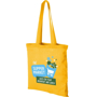 Yellow long handled shopping bag branded with a logo to one side