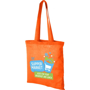 Branded cotton bag in orange with long handles