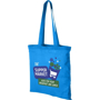 Blue reusable shopper bag with blue handles and large print to the front