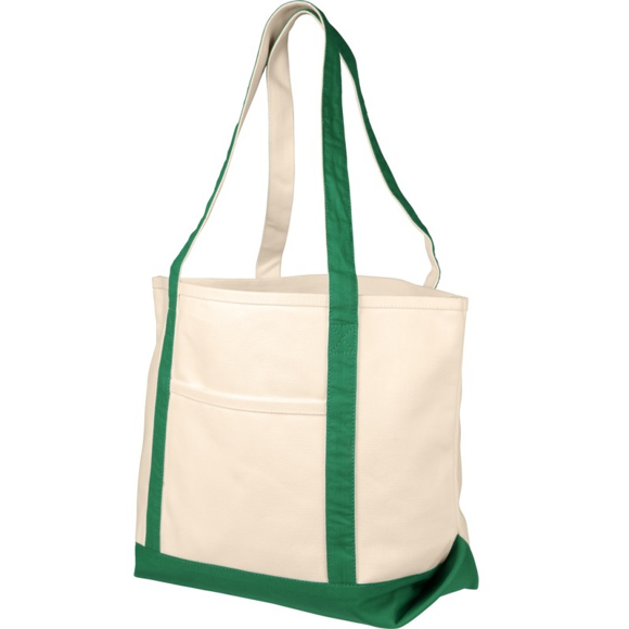 Natural heavy weight cotton bag with green trim and handles