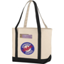 Heavy duty canvas shopper bag in natural with black handles and accent trim