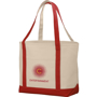 Natural and red canvas shopping bag with company logo printed onto the front pocket