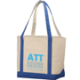 Natural canvas bag, branded with a logo on the front, with blue trim