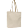 Natural canvas cotton reusable bag with long handles