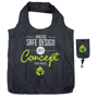 Black round handled foldable shopper in pouch with company logo printed on the front of the bag