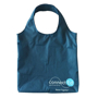 Folding shopper bag with rounded handles and company logo printed in the bottom corner
