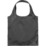 Black foldable tote bag with corner pouch and round handles