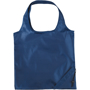 Folding bag with drawstring corner pouch in navy