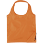 Orange folding bag with corner pouch and loop handles