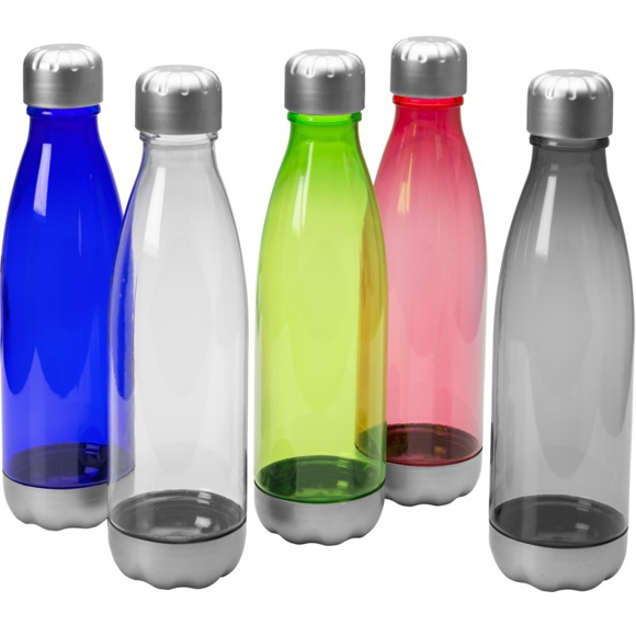 Group of aqua drinks bottles in a range of transparent colours with silver base trim and screw lid