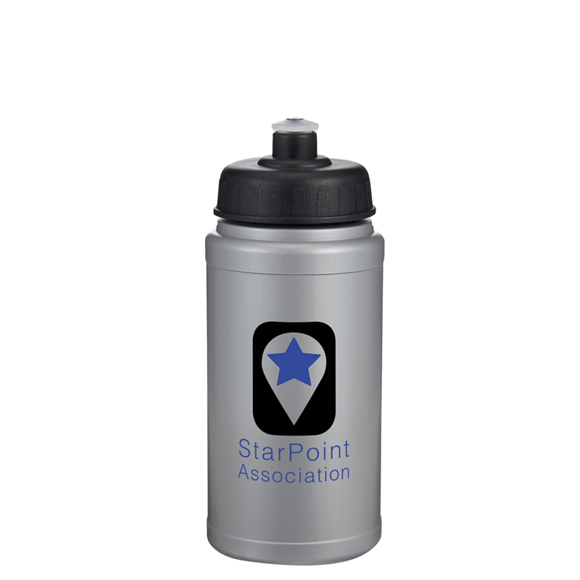 Silver 500ml sports bottle with black push pull lid and company logo printed on the front