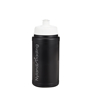 500ml Black sports bottle with white lid and logo printed up the side