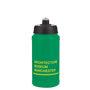 Reusable sports drinking bottle with black lid and branding to the front