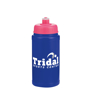 500ml Navy bottle with pink sports lid and company logo pinted