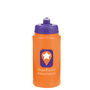 Promotional sports drinking bottle with purple lid and company logo printed onto an orange bottle