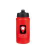 500ml Red sports bottle with black lid and personalised with a company logo