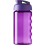 Translucent purple 500ml sports bottle with flip lid and finger grip