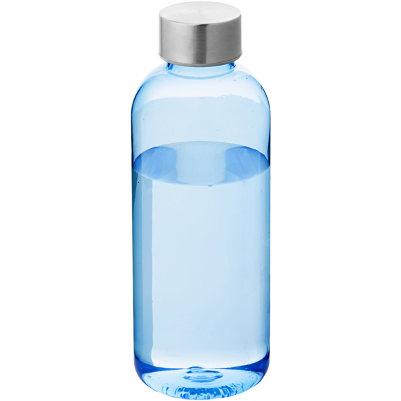 Promotional spring drinks bottle in translucent blue with silver screw top