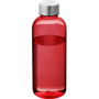 Translucent red 600ml water bottle with silver lid
