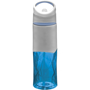 830ml Geometric sports bottle in blue with built in straw and solid grey panel on top for printing a company logo