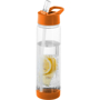 Fruit infuser drinking bottle in clear and orange
